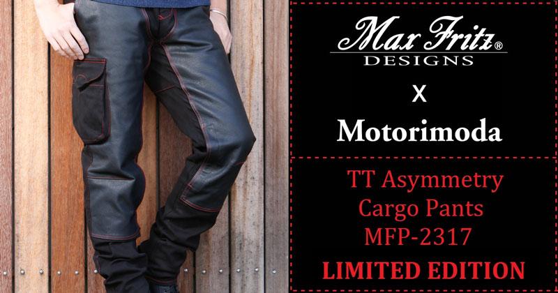 マックスフリッツとモトーリモーダのコラボレーションモデル TT-BLACK アシンメトリーカーゴパンツ メイン
