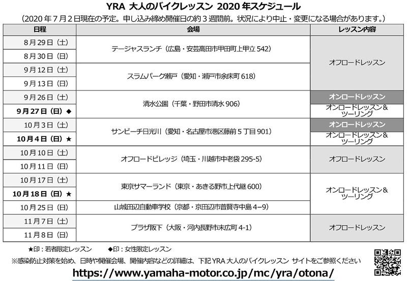 【ヤマハ】ライディングスクール「YRA大人のバイクレッスン」8/29の広島オフロードレッスンから再開決定 記事1