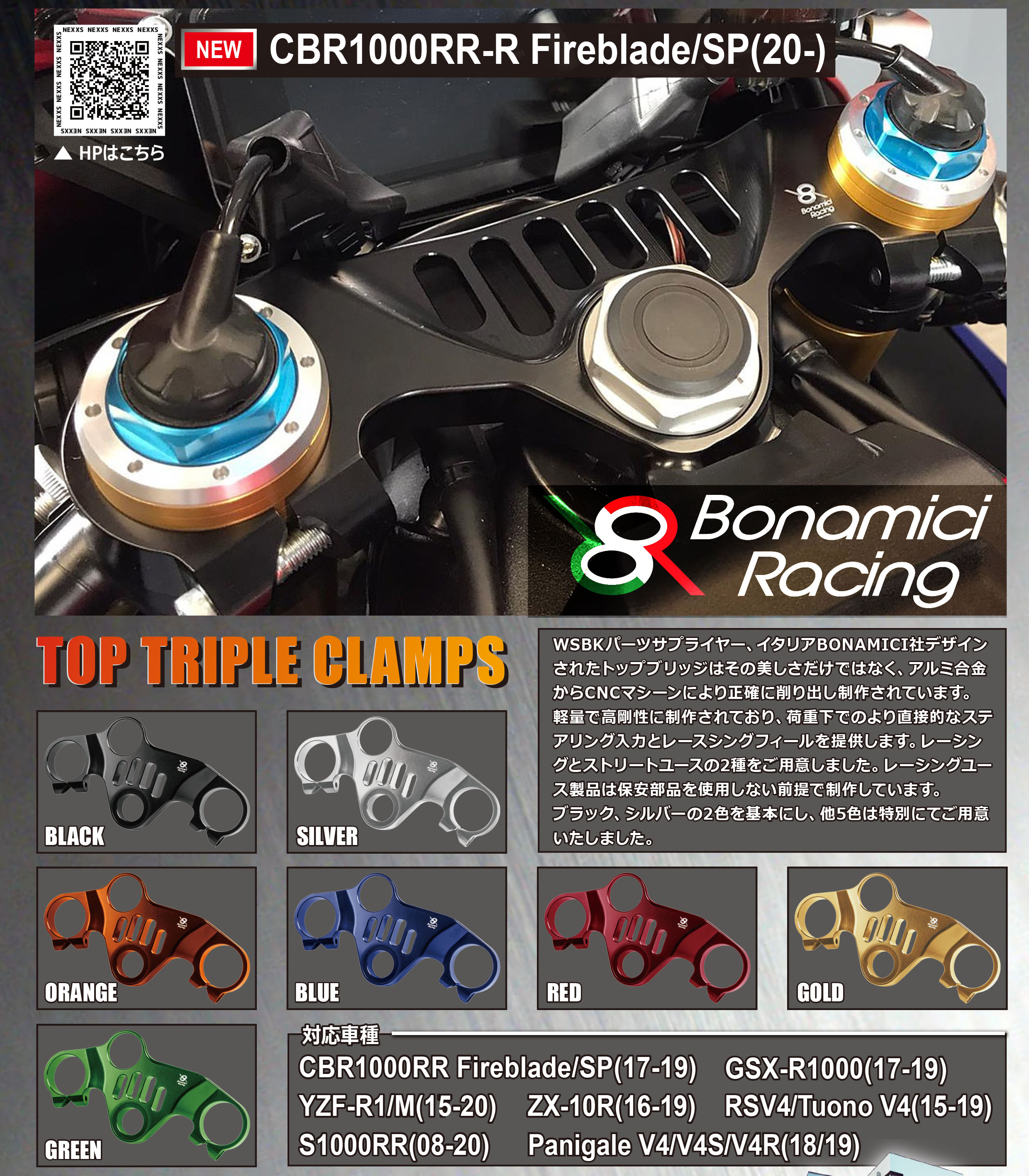 ネクサス「Bonamici Racing TOP TRIPLE CLAMPS」記事01