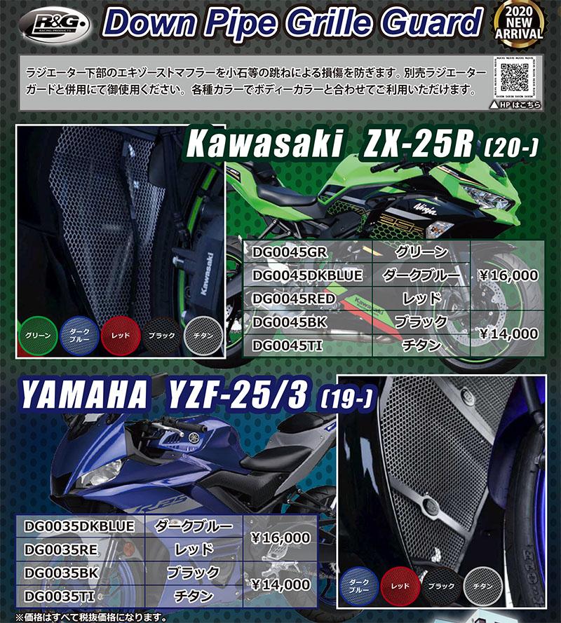 ネクサス Kawasaki Ninja ZX-25R(20-)&YAMAHA YZF-25/3(19-)向け「R&G RACING Down Pipe Grille Guard(ダウンパイプグリルガード)」記事01
