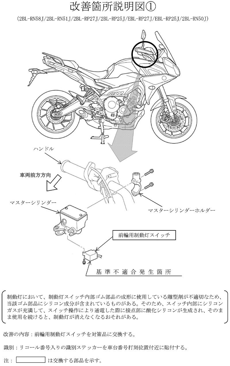 【リコール】ヤマハ TRACER900 GT、ほか10車種 計7,536台 記事2