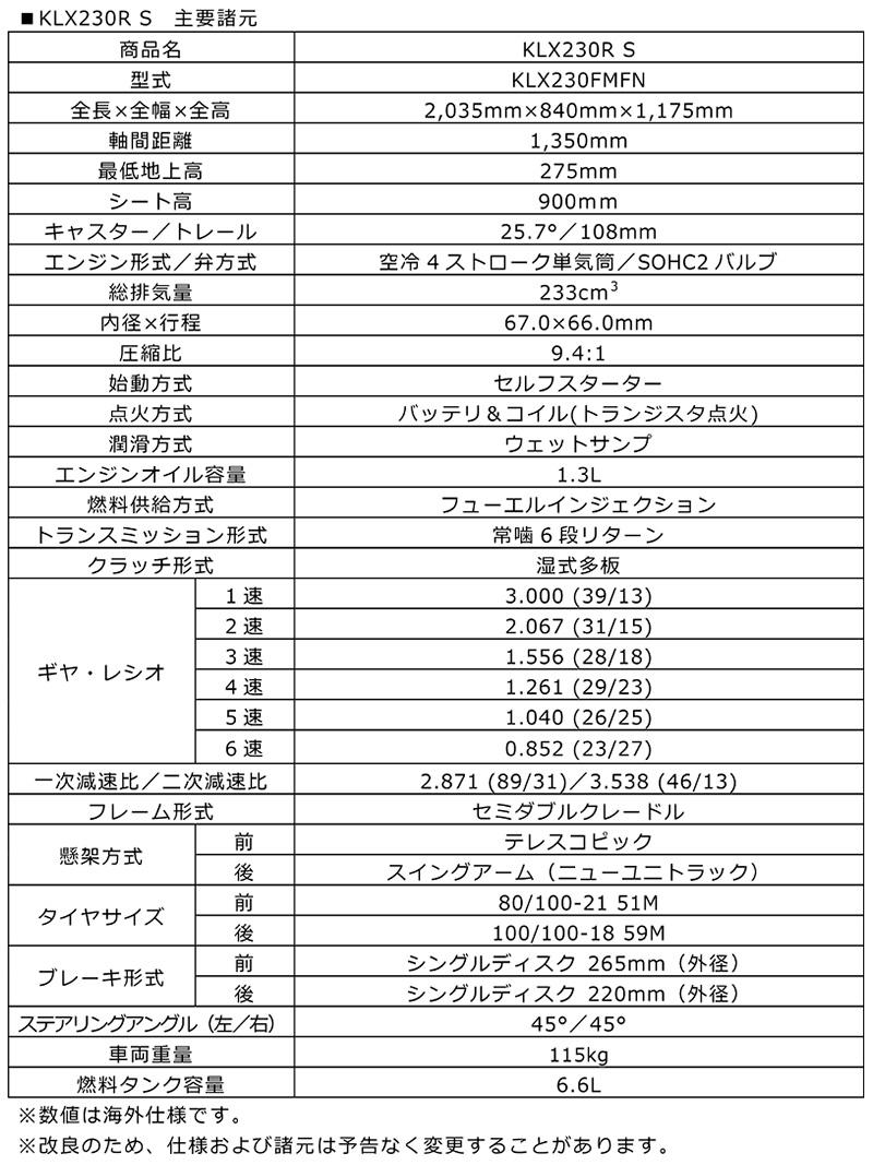 カワサキ グローバル市場向け車両 KLR650 KLX230R S 記事6