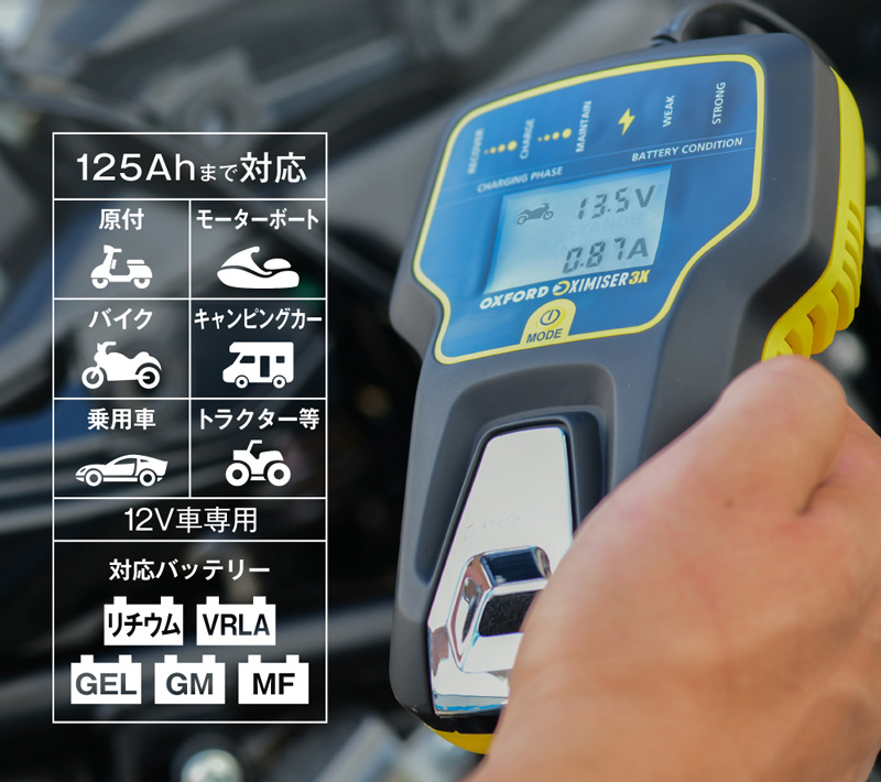 冬場に弱ったバッテリーを回復! 電圧を表示できる OXFORD のスマートバッテリーチャージャー2モデルが2/22発売 記事2
