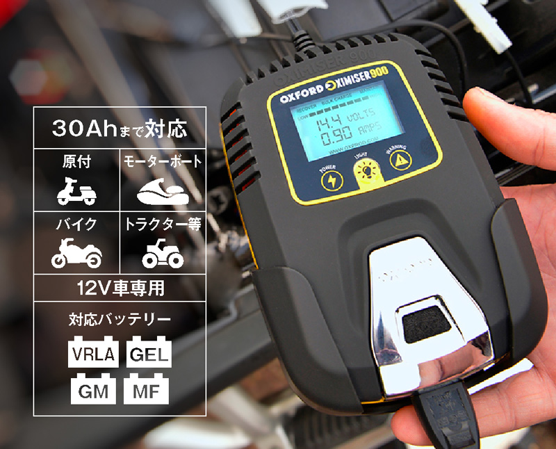 冬場に弱ったバッテリーを回復! 電圧を表示できる OXFORD のスマートバッテリーチャージャー2モデルが2/22発売 記事4