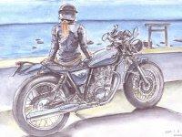 女性ライダーを描いた水彩スケッチ展「100 Motorcycles & girls 展」が9/29~10/11までユナイテッドカフェで開催 記事1